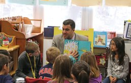 Region 16 Superintendent of Schools Michael Yamin reads Dr. Seuss' 'The Sneetches and Other Stories' to second-grade students at Laurel Ledge Elementary School in Beacon Falls March 2 as part of a Read Across America Day celebration. –LUKE MARSHALL