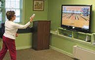 Prospect resident Irena Pilat plays Nintendo Wii bowling game at the Prospect Senior Center Feb. 29. Seniors meet on Mondays and Wednesdays at the center to participate in the center's Wii Bowling League. –LUKE MARSHALL