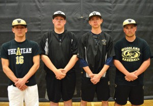 Woodland seniors, from left, Matt Butterworth, Mason Rek, Tyler Boisvert and Jared Grillo along with Mike Tuohy (not pictured) will lead the Hawks this season. –KEN MORSE