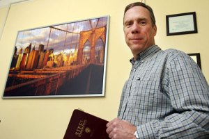 Bridge engineer, Vincent Siefert P.E., works in his office in Naugatuck last week. Siefert has worked on the Brooklyn Bridge, the Tapan Zee, and several other well-known structures. -REPUBLICAN-AMERICAN