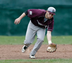 Naugatuck shortstop Steven Marinaro fields the ball versus Wolcott Monday in Wolcott.  Wolcott won the game, 1-0, in eight innings. -REPUBLICAN-AMERICAN