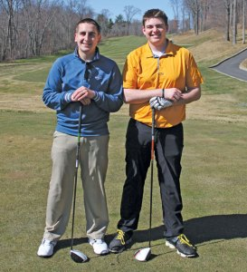 Woodland seniors and golf captains Ryan Warner, left, and Zach Crowell will lead the Hawks on the course this season. –ELIO GUGLIOTTI