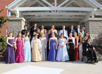 Members of the Woodland Regional High School Best Buddies chapter pose for a picture before the 2016 WRHS Best Buddies Prom April 30. The prom, which took place at Lakeview Lodge at Veteran's Memorial Park in Bethany, was organized by Woodland senior Paige Brown. –CONTRIBUTED