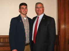 Naugatuck residents Sophia Boucher, a senior at Naugatuck High School, and Zachary Mason, a senior at Holy Cross High School (pictured with his father), were among 13 local high school seniors to earn the Trumbull-Porter Chapter Daughters of the American Revolution school's Good Citizens Award. The award is intended to encourage and reward the qualities of good citizenship. Each senior class student selected as the school's DAR Good Citizen must have the qualities of dependability, service, leadership and patriotism to an outstanding degree. Each award winner received a DAR Good Citizen pin, a certificate, an American flag and a small monetary stipend. –CONTRIBUTED