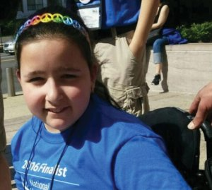 Ashlee Alves, 11, of Naugatuck, has cerebral palsy and is confined to a wheelchair. She needs to be lifted to go up and down stairs. There are fundraising efforts under way to get her family a wheelchair lift for their house. – CONTRIBUTED