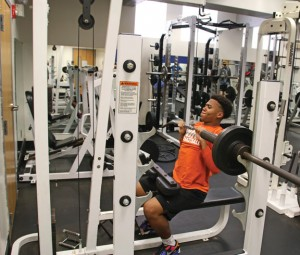 Naugatuck resident Jaylen Bell, 16, works out at the Naugatuck YMCA on May 12. The YMCA is in the midst of a capital campaign and has implemented improvements. –LUKE MARSHALL