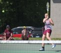 Naugatuck's Sarah Cook returns a shot versus Watertown's Ava Kaverud May 20 during the Naugatuck Valley League tennis tournament final in Beacon Falls. Naugatuck won the match, 4-3. –ELIO GUGLIOTTI