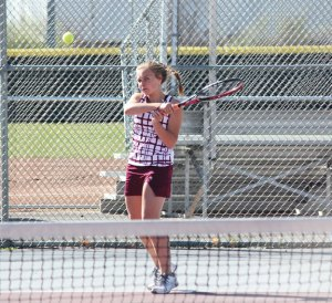 Kelly Carr and the Naugatuck girls tennis team will wrap up the regular season this week and are looking to make some noise in the NVL tournament next week. –FILE PHOTO