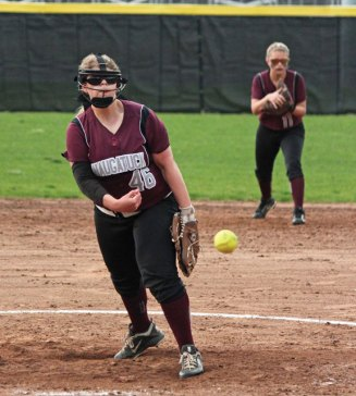 Naugatuck's Jess Conover pitches against Watertown Saturday in Naugatuck. Watertown won the game, 8-5. –ELIO GUGLIOTTI