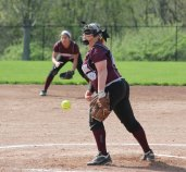 Naugatuck's Jess Conover pitches Monday versus Woodland in Beacon Falls. Naugatuck won the game, 5-1. –ELIO GUGLIOTTI