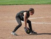 Woodland's Gina Farina fields a bunt versus Wolcott May 12 in Beacon Falls. Wolcott won the game, 9-7. –ELIO GUGLIOTTI
