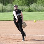Woodland's Jennifer Triana pitches versus Wolcott May 12 in Beacon Falls. Wolcott won the game, 9-7. –ELIO GUGLIOTTI