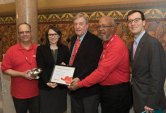 State Rep. Rosa Rebimbas, R-Naugatuck, was presented with the 2015 AARP Capitol Caregiver Award April 28 for her leadership on behalf of family caregivers and work to strengthen power of attorney legislation. Pictured, from left, AARP volunteer Rich Alhage, of Naugatuck, Rebimbas, AARP volunteers Tom Singleton, of Woodstock, and Byron Peterson, of Shelton, and AARP State Advocacy Director Claudio Gualtieri. –CONTRIBUTED