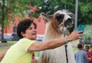 St. Francis-St. Hedwig School fourth-grade teacher Leslie Biggins takes a selfie with Feather the llama on May27 at the school's field. Feather was at the school as part of the school's Kiss the Llama Day, which celebrated the students reading over 5,000 books during the school year. Principal John Salatto promised the students he would kiss a llama if the students were able to read 5,000 books. –LUKE MARSHALL