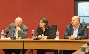 From left, state Sen. Joseph Crisco, D-Woodbridge, and state representatives Rosa Rebimbas, R-Naugatuck, and David Labriola, R-Oxford, listen during a meeting with borough officials May 24 at the Board of Education office. –LUKE MARSHALL