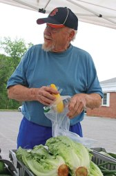 Beacon Falls Congregational Church Parson James Van Pelt picks out a yellow squash during the opening day of the Beacon Falls Farmers Market on Main Street July 8. The Beacon Falls market is open Fridays from 3 to 7 p.m. –LUKE MARSHALL