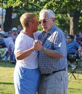 Prospect residents Fred and Leslie Kingston share a dance June 29 on the Prospect Town Green during the town's summer concert series. The concert series features a new band every Wednesday from 7 to 8:30 p.m. on the Green through Aug. 24. –LUKE MARSHALL