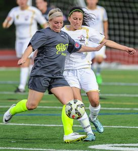 Former Woodland soccer player Kieran DeBiase is in her first season with the New England Mutiny of the United Women's Soccer League. Among her teammates is former Naugatuck High School soccer player Stephanie Santos. –NE MUTINY