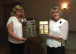 The Naugatuck Emblem Club placed first in the state for Community Service and Press at the annual Connection State Association of Emblem Clubs convention in May. Pictured, Annette Balog and Wendy Meagher. –CONTRIBUTED
