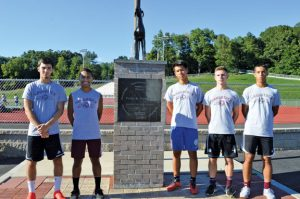 Naugatuck seniors, from left, Candido Carrelo, Pedro DeSouza, Gabriel Carrelo, captain Devon Curtis and David Ruela will lead the Greyhounds on the pitch this season. –KEN MORSE