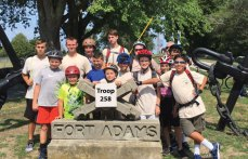 Boy Scout Troop 258 from Prospect cycled over 12 miles through Newport, R.I. and stayed overnight in the barracks at Fort Adams, which stands at guard at the entrance to Narragansett Bay, Sept. 10 to Sept. 11. Pictured, front row, Brian Kieffer, Nick Bouffard, Nick Christiano, Nate Bouffard, Nicholas Santovasi, Aiden Kennedy, Zach Telesca, Sam Gonzales; back row, Jeff Varesio, James Nelson, Adam Telesca, Hayden Bartlett, Connor Sargeant, Anthony Santovasi and Casey Redd. –CONTRIBUTED