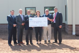 The Ion Bank Foundation recently awarded a $10,000 grant to the Cheshire Food Pantry to help fund the construction of a new facility. Pictured, from left, John DeLeo, of Ion Investments, David Drescher, president and CEO of Ion Insurance, John Palmeri, treasurer of the Cheshire Food Pantry, Patty Hartmann, executive director of the Cheshire Food Pantry, Paul Bowman, president of the Cheshire Food Pantry, and Kevin King, of Ion Bank. –CONTRIBUTED