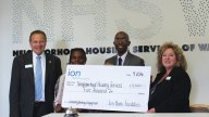 The Ion Bank Foundation recently awarded a $5,000 grant to the Neighborhood Housing Services of Waterbury to aid community building and engagement efforts. Pictured, from left, Charles J. Boulier III, president and CEO of Ion Bank and Ion Bank Foundation; Erika Cooper, of Neighborhood Housing Services of Waterbury, Kevin Taylor, executive director of Neighborhood Housing Services of Waterbury, and Nancy Fay, of Ion Bank and secretary of the Board of Directors of the Neighborhood Housing Services of Waterbury. –CONTRIBUTED