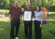 Longtime former Naugatuck High School boys soccer coach Art Nunes, center, was honored Sept. 24 during the Naugatuck Education Foundation's annual golf tournament. Nunes was honored for his dedication to the community, to the hundreds of players he coached and to the sport of soccer. State representatives David Labriola, R-Oxford, and Rosa Rebimbas, R-Naugatuck, presented Nunes with a state proclamation. The tournament was a fundraiser for NEF, a nonprofit organization that works to improve local public schools and also gives grants to teachers every year to fund unique educational programs that are not funded in the annual budget. For more information, visit www.naugatuckeducationfoundation.org.–CONTRIBUTED