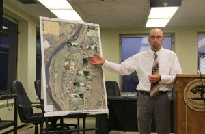 Michael Joyce, manager of highway design for Milone and Macbroom, discusses a project to reconstruct a section of North Main Street in Naugatuck during a public information session Monday at Town Hall. –LUKE MARSHALL