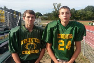 O'Brien Tech football seniors and Beacon Falls natives Connor Jurzynski, left, and Mike DeCampos. –REPUBLICAN-AMERICAN