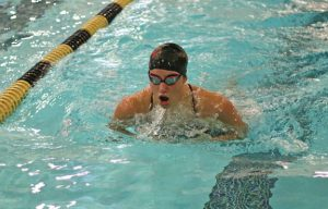 Woodland's Brooke Pope competes in the 200 individual medley Sept. 30 versus Naugatuck in Beacon Falls. Woodland won the meet, 93-85. –LUKE MARSHALL