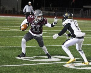 Naugatuck senior wide receiver Jalen Datil (11) provides the Greyhounds with a receiving threat that can score from anywhere on the field. He has two games this season with over 200 yards receiving, including a 10-catch, 214-yard game against Waterbury Career. –ELIO GUGLIOTTI