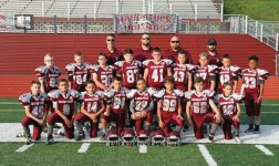 The Naugatuck Pop Warner U10 team beat Ansonia, 34-20, Nov. 13 to win the D3 SCPW Southern CT Pop Warner Championship in West Haven. Pictured, front row from left, Mahar Kellen, Sepulveda Dylan, Lapointe Paul, Mastropietro Mason, Hamilton Shaun, Hyman Jacob, Cummings Brendan, Abate Damon; middle row from left, Segetti Kyle, Gendron Nathan, Ottowell DJ, Teixeira Alexander, Leahy Aiden, Navarro Damien, Gaffney Ty, Ferrucci Vincent, Divine Ezekial; back row from left, coaches Michael Mastropietro, Jay Leahy, Jay Segetti and Christopher Cummings. –CONTRIBUTED