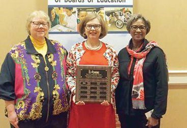 From left, Naugatuck Board of Education Chair Dorothy Neth-Kunin, Connecticut Commissioner of Education Dianna Wentzell and Naugatuck Board of Education member Ethel Grant are pictured at the Leadership Awards presentation during the Connecticut Association of Boards of Education/Connecticut Association of Public School Superintendents Convention in November. The Naugatuck school board received CABE's Level One Leadership Award, which recognizes boards that work effectively as a team with superintendents. –CONTRIBUTED