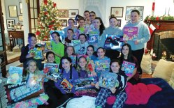 Members of City Hill Middle School girls basketball team each donated gifts for children for the Naugatuck Police Department's toy drive. –CONTRIBUTED