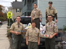 Over 40 Boy Scouts from troops 102, 115 and 138 from Naugatuck recently held their annual Scouting for Food drive. Over 800 bags of non-perishable food donations were collected for the Naugatuck Ecumenical Food Bank. –CONTRIBUTED