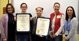 Long River Middle School sixth-grade students Sarah Cooley and Emma Fabrizi were the winner and runner-up, respectively, of a Women's History Month essay contest sponsored by state representatives Lezlye Zupkus, R-89th District, and Nicole Klarides-Ditria, R-105th District. Students from Beacon Falls and Prospect wrote essays on 'How a Connecticut Woman Made a Contribution to the State and Nation and How it Affects Me.' Cooley wrote her essay on Maria Sanchez, who was the first Hispanic woman elected to the Connecticut General Assembly. Fabrizi, wrote her essay on Alice Paul, who helped bring about the passage of the 19th Amendment in 1920. Pictured, from left, Klarides-Ditria, Fabrizi, Cooley, Zupkus, and Long River Assistant Principal Michelle Meyers. –CONTRIBUTED