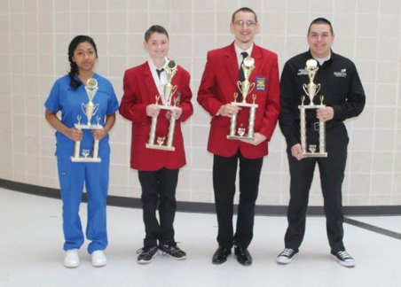 Kaynor Technical High School students from Prospect and Naugatuck placed at the SkillsUSA state competition. From left, Thiri Htet came in third in SC nurse assisting. Casey Redd came in second in freshmen leadership and earned a medal in freshmen exploratory demo. Jacob Bethin, along with his teammates, earned third place in promotional bulletin board. Justin Fortin came in first in skills connect carpentry and will be going to Louisville, Ky. as part of Kaynor's SkillsUSA nationals team in June. –CONTRIBUTED