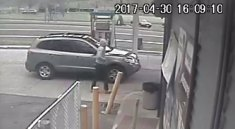 Naugatuck police released this surveillance photo of the suspect and suspect vehicle in a car theft on April 30 at the Xpress Fuel gas station on North Church Street. –CONTRIBUTED