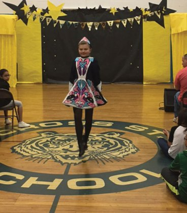 Cross Street Intermediate School in Naugatuck held a student talent show in May. Pictured, Nora Galvin performs an Irish step dancing routine. –CONTRIBUTED