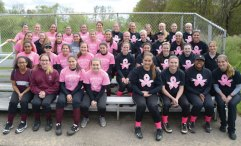 The Woodland softball team hosted a National Fastpitch Coaches Association Strike Out Cancer game May 10 against Naugatuck and raised $250 for the National Foundation for Cancer Research. –CONTRIBUTED