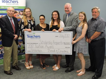 The Waterbury CT Teachers Federal Credit Union awarded $12,500 in scholarships to four area students, including Katelyn Brodeur, a 2017 Naugatuck High School graduate. Brodeur, second from the right, received The Jean O'Brien Memorial Scholarship, a four-year scholarship granted to a student with a declared major in education and plans for a career in teaching. She plans to major in elementary education at Southern Connecticut State University. Pictured, from left, Credit union board member John Fontaine, scholarship recipient Shannon Goggin, Damaris Cabrera's mother, scholarship recipient Heather Brown, credit union board Chairman John Cronan, Brodeur and board member Gary Huckins. –CONTRIBUTED