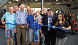 The Club Health & Fitness celebrated the grand opening of its new location at 100 Prospect St. in Naugatuck with a ribbon cutting ceremony on Aug. 5. Pictured, from left, Tom Hill of Tom Hill Realty and Investment, Burgess Donald Wisniewski, Naugatuck Economic Development Corporation President and CEO Ron Pugliese, Burgess Laurie Taf-Jackson, The Club owner Joe Gworek, Carter Gworek, Burgess Carl Herb, Burgess Rocky Vitale and Naugatuck Chamber Director Courtney Ligi. –LUKE MARSHALL