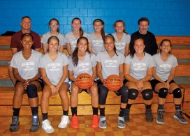 The Naugatuck High School girls basketball team, sponsored by KC Landscaping Co. and Anthony Cretella, recently competed in the Waterbury North End Rec Summer League. Pictured, front row from left, Alexa Woods, Mia Rotatori, Molly Kennedy, Alyana Sosa, Hailey Deitelbaum, Shannon Burns; back row from left, coach Ron Plasky, Evelyn Diaz, Brielle Behuniak, Alissa McNeil, Hailey Russell and coach Fred Scheithe. Missing from the photo, Alyssa Roberts. –CONTRIBUTED