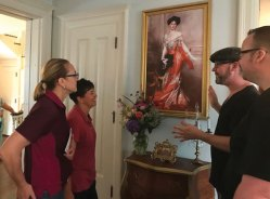 From left, Sharon Lausier and Angela Guardiano listen as Christopher Ritton-Stokes and Michael Stokes discuss a painting in their home in Naugatuck during the Naugatuck Historical Society's first Historic Home Tour on Aug. 5. About 80 people participated in the tour. Participants toured nine private homes in Naugatuck, including the homes of industrialists Howard B. Tuttle and Emil Mannweiller, and Emily Sophie Brown, one of the first women elected to Connecticut's General Assembly. Homes on the tour were on Terrace Avenue, Millville Avenue, Hillside Avenue and Rockwell Avenue. Visitors learned about the history of the homes and their previous homeowners. –CONTRIBUTED