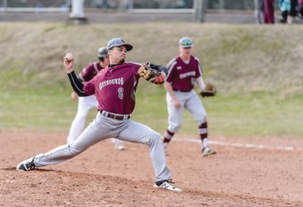 Naugatuck's Michael Plasky (8) pitches versus Sacred Heart at Fulton Park in Waterbury on Monday afternoon. Sacred Heart won the game, 6-2. -BILL SHETTLE/REPUBLICAN-AMERICAN