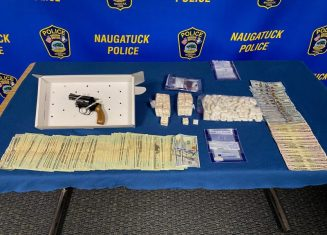 Naugatuck police say they seized nearly a pound and half of fentanyl, $8,027 in cash and a .38 mm Smith and Wesson handgun Nov. 12 from apartments at 180 and 182 North Main St. -CONTRIBUTED