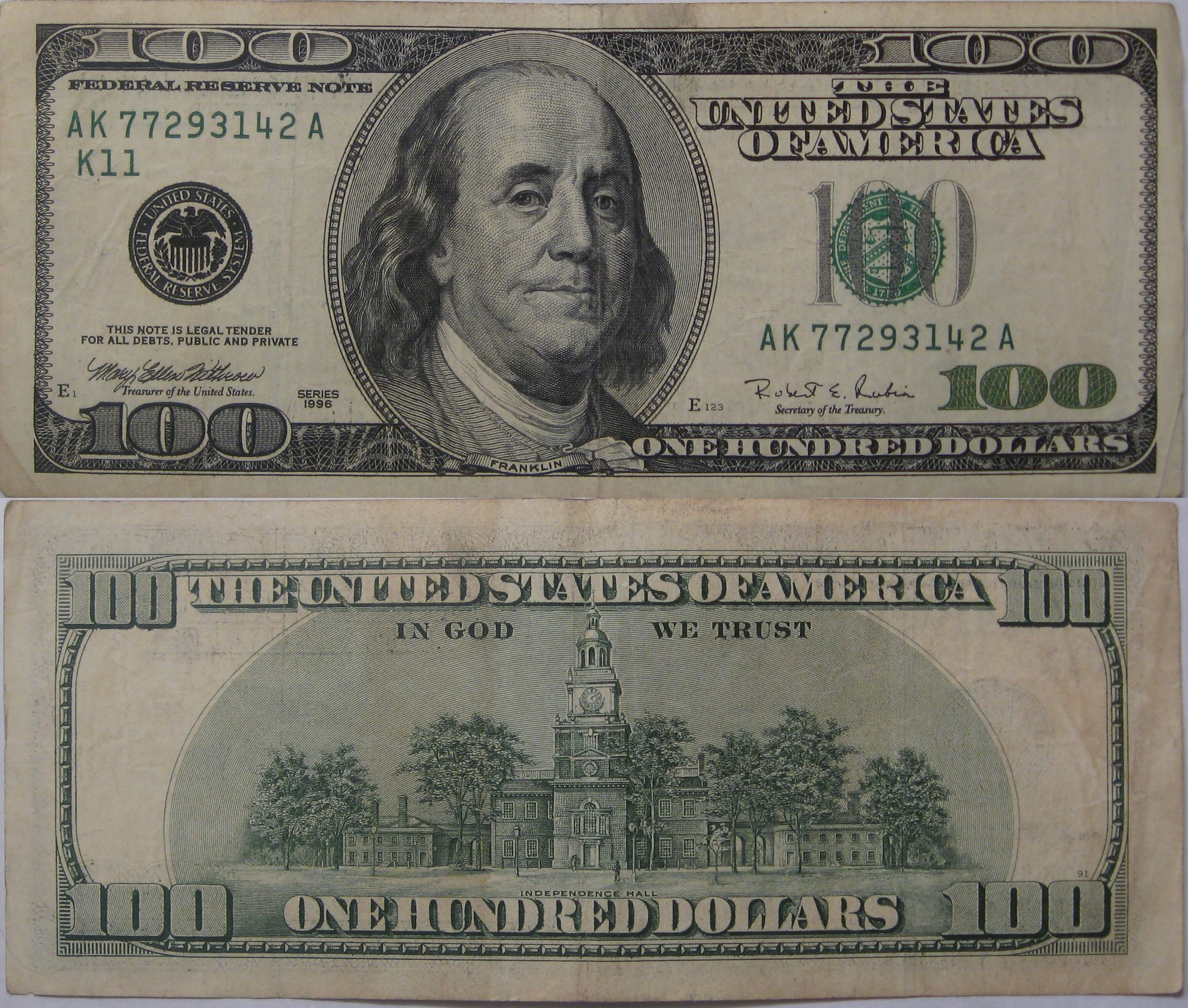 100 Dollar Bill Series 1996 My Coin Pictures