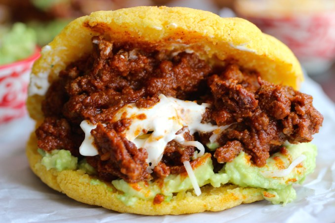 Arepas with Beef Chili, Guacamole and Cheese | My