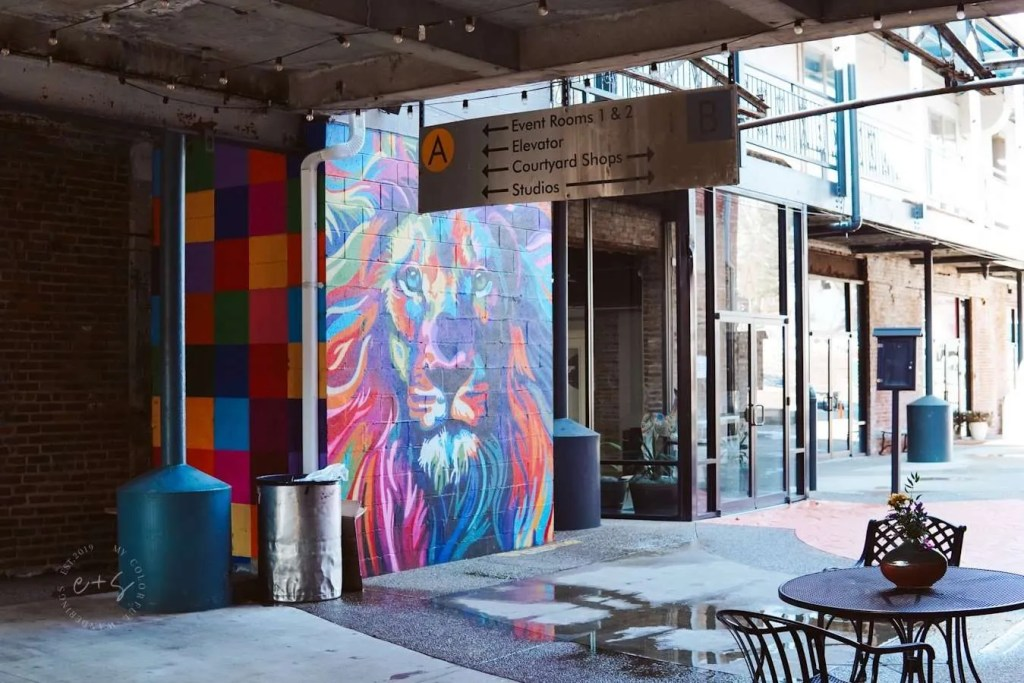 Colorful Lion Mural in Mellwood Art Center - Louisville Murals